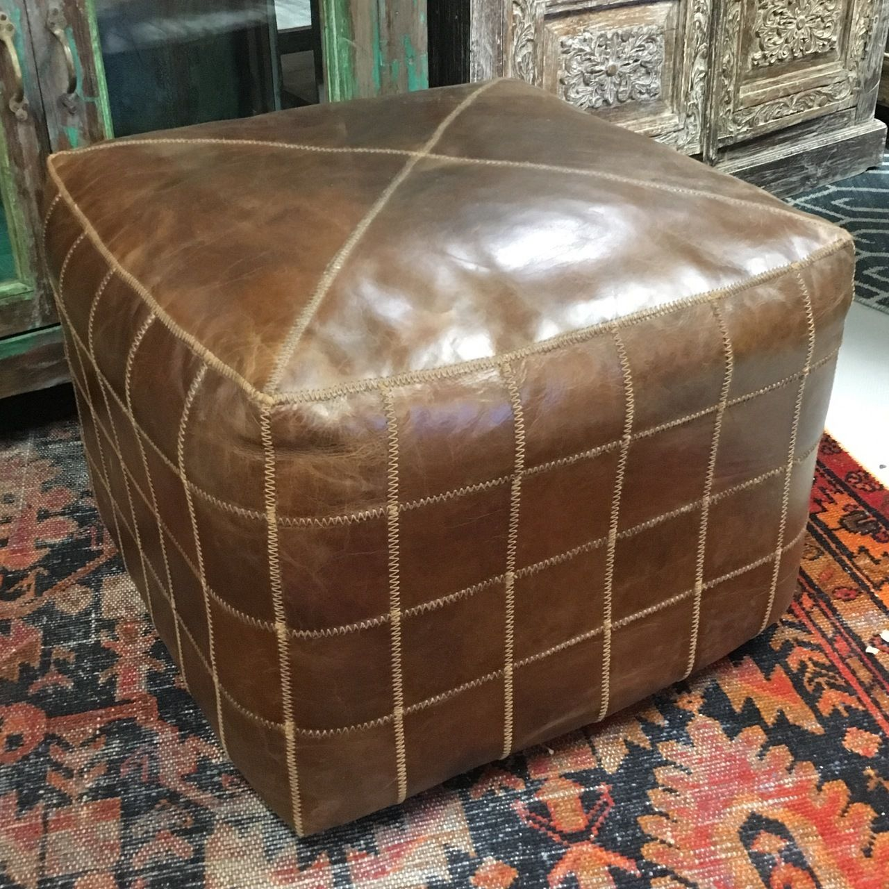 22 Inch Square Modern Vintage Cigar Patchwork Ottoman Mohr Mcpherson Patchwork Ottomans Ottoman Comfortable Leather Chairs