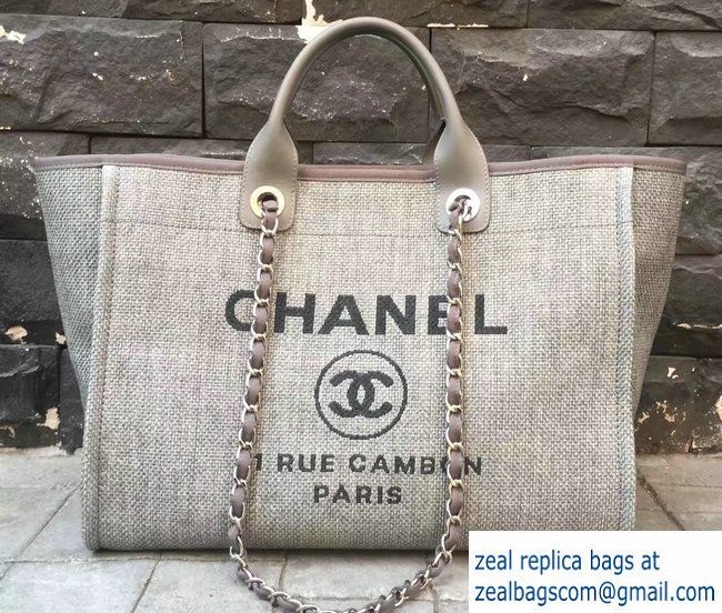 bc5f99929 Chanel Deauville Canvas Tote Medium Shopping Bag Beige 2017 | Luxury ...