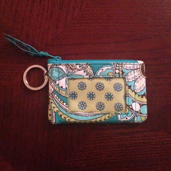 Peacock Pattern Vera Bradley Card Wallet This small wallet will hold your credit cards and license. It has a front see through pocket to display one card. The side has a key ring. Like new and barely used. Vera Bradley Accessories