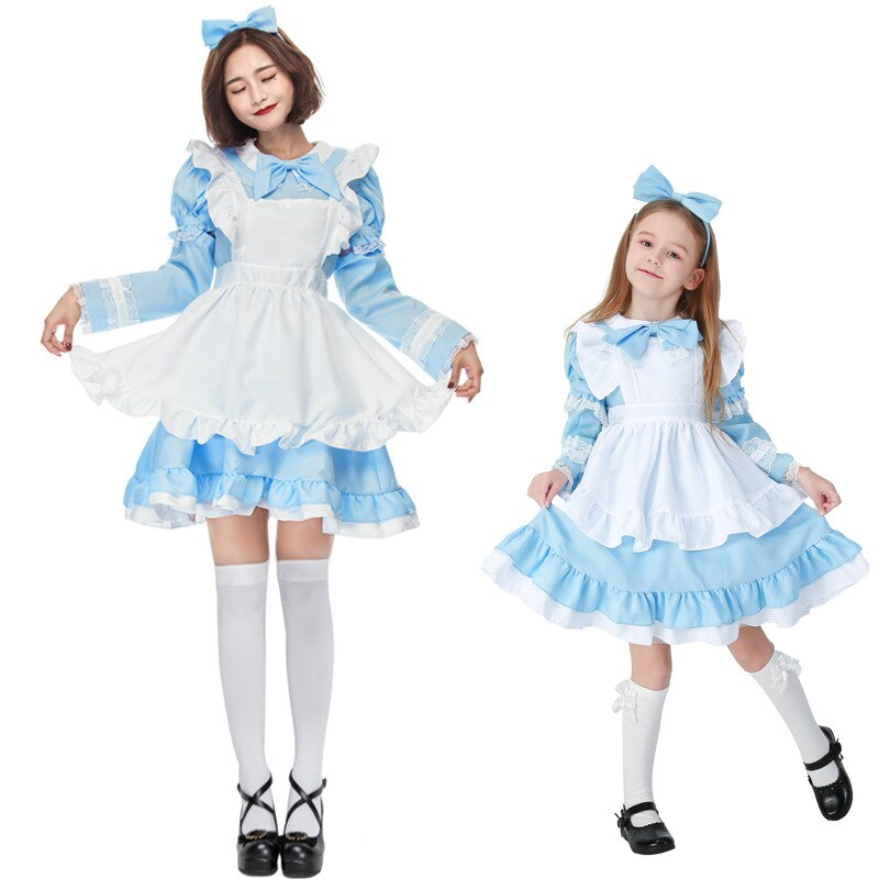 Women Charming Alice in Wonderland Costume Halloween Maid Apron Dress Teen Girl
