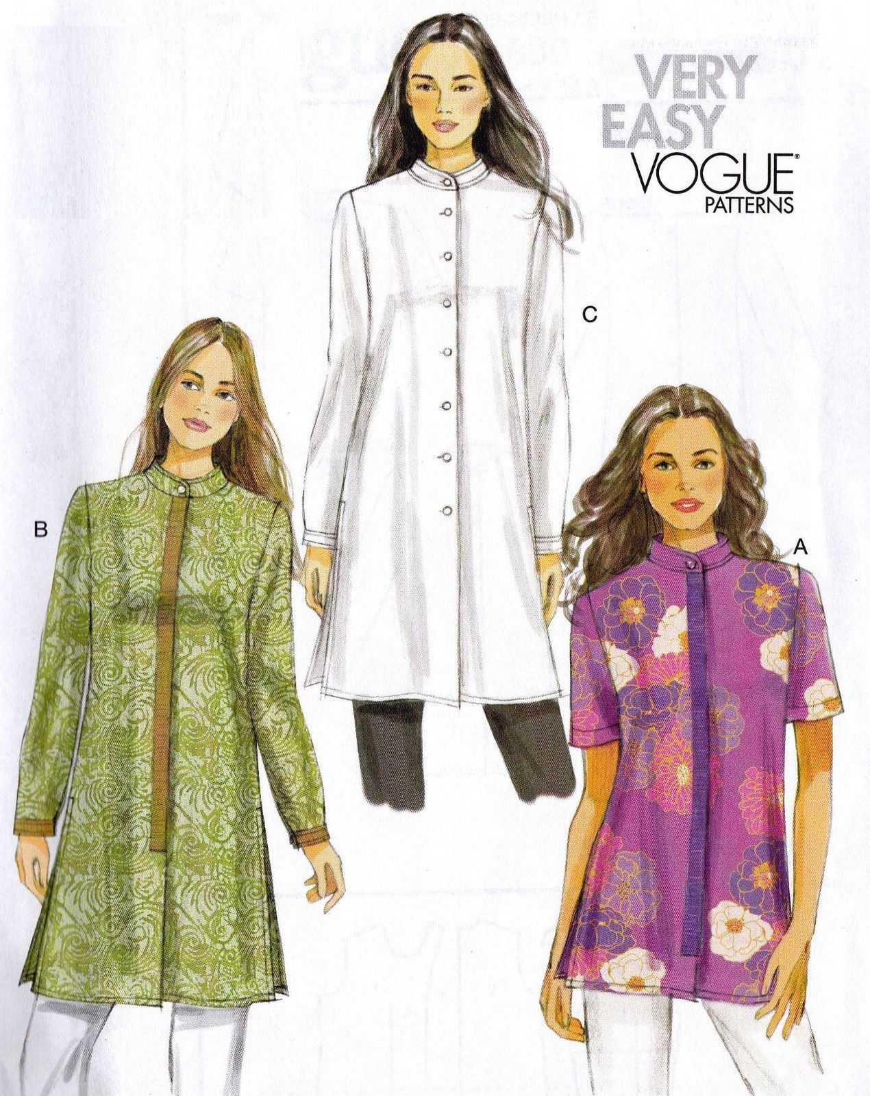 Vogue Sew Pattern 8830 EZ Sew Tunic Top Mandarin Collar 8-24 Woman Plus