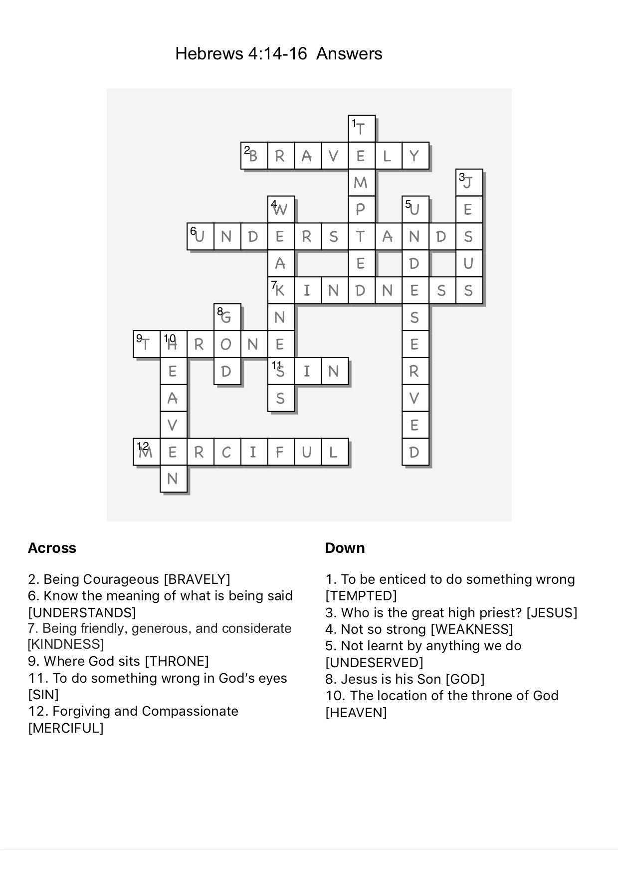 Crossword Hebrews 4:14-16 Answers   Bible quiz, Crossword ...
