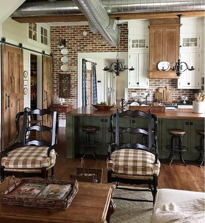 Kitchen Cabinets French Country Style: White Cabinets Mixed With Stained Wood