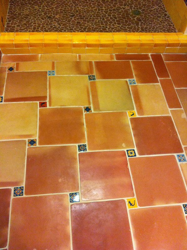 Saltillo Floor Tile In The Bathroom And Shower Mexican Home Decor