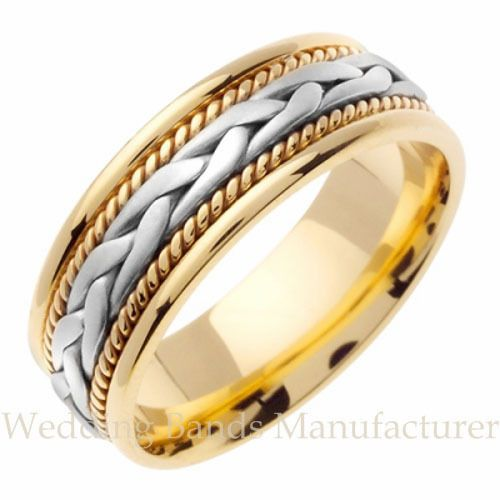 18k Two Tone White Yellow Gold Mens Mans Braided Twisted Rope Wedding Band Ring Large Engagement Rings White Gold Wedding Bands Braided Wedding Band