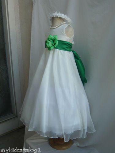 KC1 New Ivory Clover Green Wedding Organza Crystal Kids Flower Girl ...