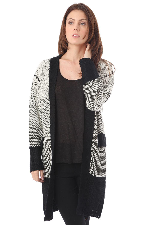 Black bicolour longline cardigan in jersey | Products | Pinterest ...