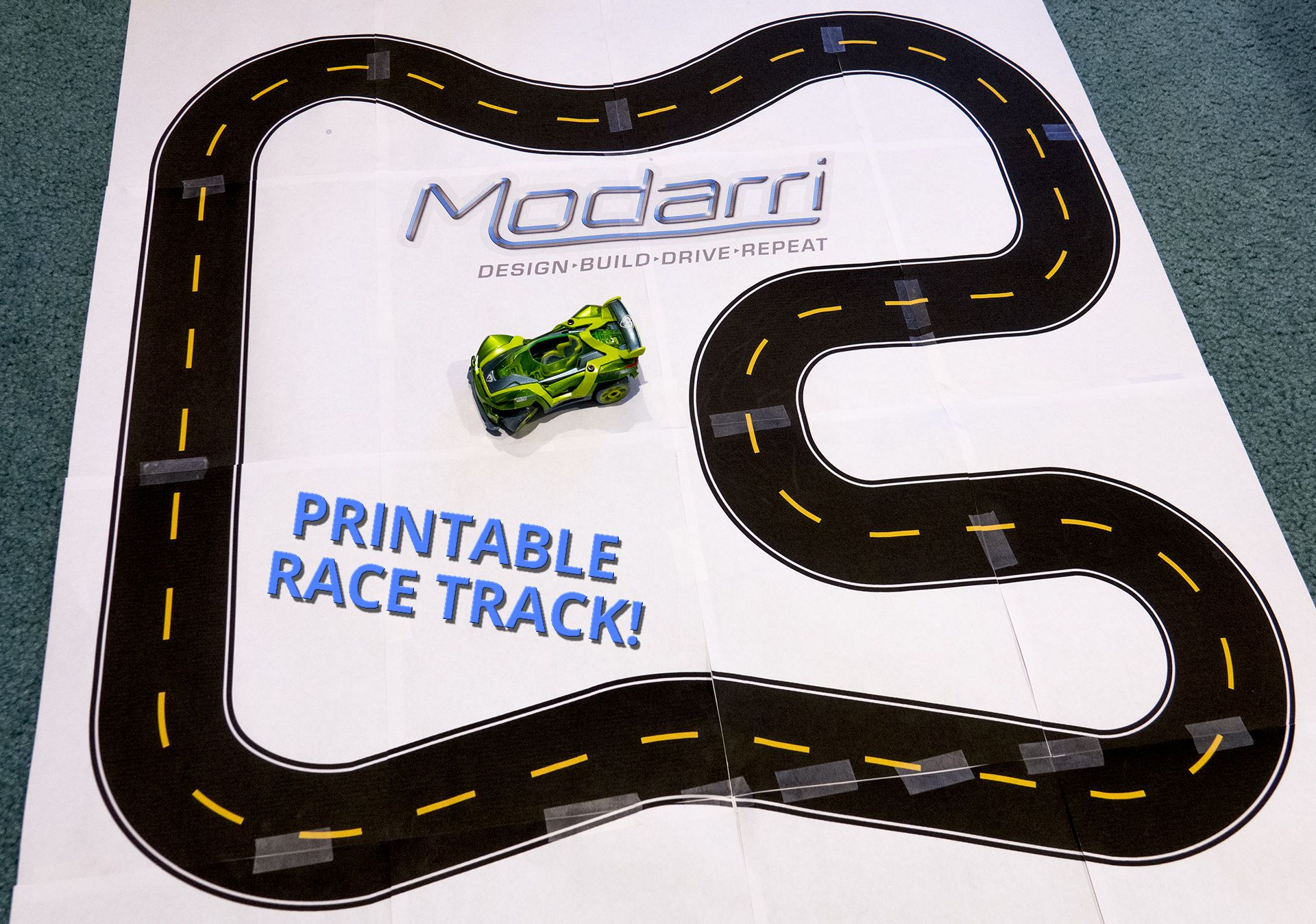 This is an image of Bright Printable Race Track