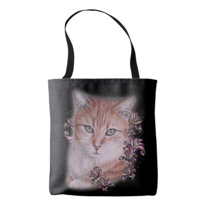 drawing of orange tabby cat and lilies on bag orange tabby cats