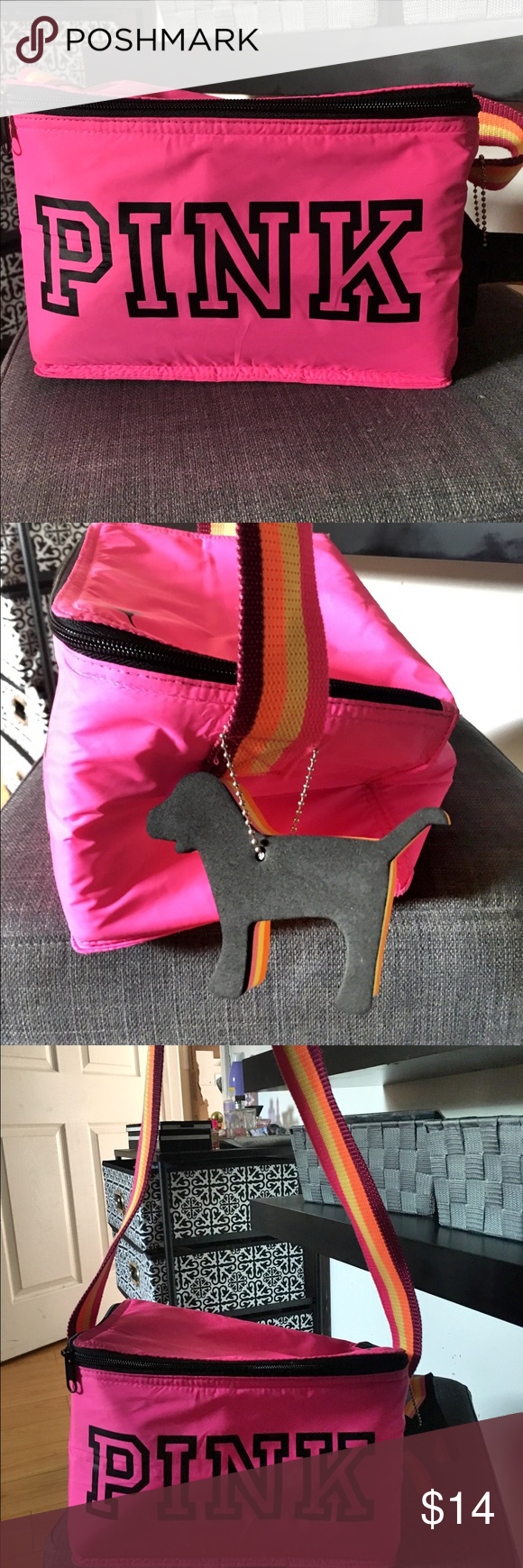 PINK insulated lunch bag Reposh - Cute insulated PINK bag. This bag is vibrant and perfect for a beach trip. Includes mini dog key chain. In perfect condition- just a little brighter than my liking. Asking what I paid. Price is firm unless bundling PINK Victoria's Secret Accessories