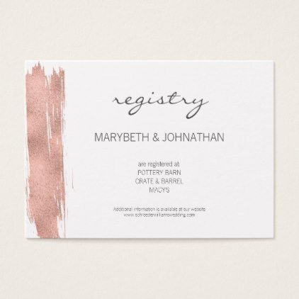 Modern Rose Gold Brushstroke Wedding Registry Card Office Gifts