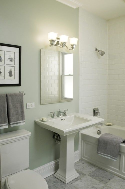 Pale Green With Grey Is A Always Good Bathroom Color Combination And Can Evoke A Feeling Of Calm Traditional Bathroom White Subway Tile Bathroom Pedestal Sink