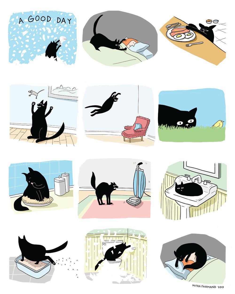 Cat Print Black Cat Print Funny Cat Illustration Cat Comic Black Cat Print Cats Illustration Silly Cats