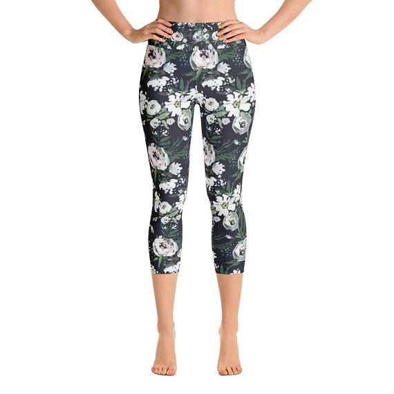 Floral Yoga Pants, Floral Leggings, Leggings with Pockets, Capri Leggings, Activewear, Peonies, Ranunculus, Gifts for Women, Spring Fashion