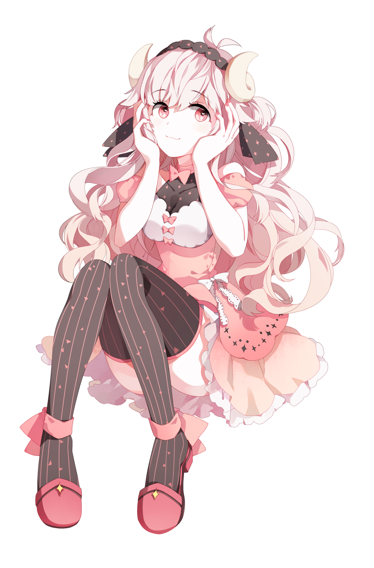 Anime Girl With Pink Hair, Pink Eyes, Curly Hair, Wavy
