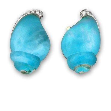 New Vhernier 18k Turquoise Diamond Seashell Earrings