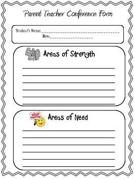 easy parent teacher conference form school ideas pinterest