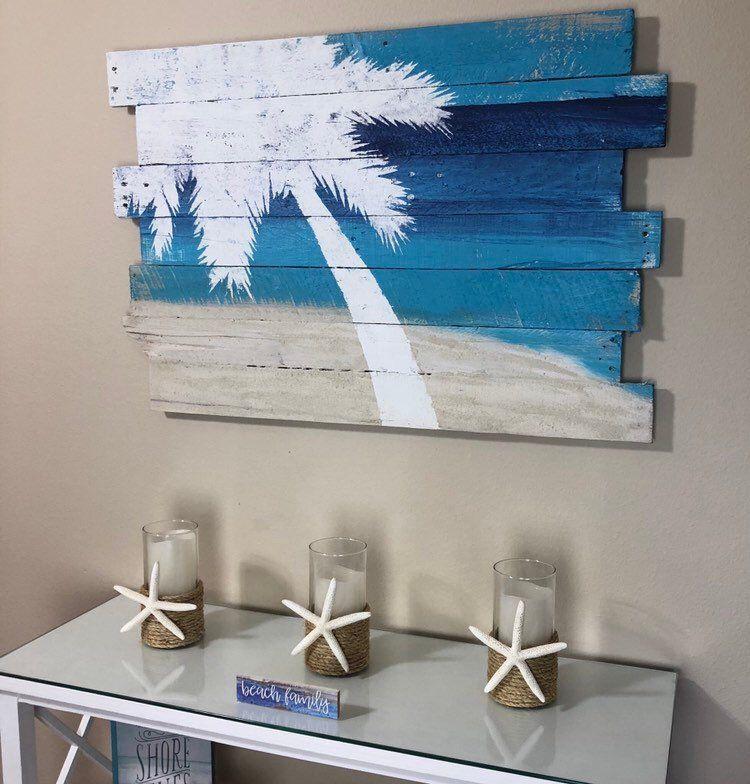 "Beach Decor Palm Tree on Sky Sea and Sand Tropical Wall Hanging 24""L x 36""W – Nautical decor, coastal decor, beach decor, lanai images"