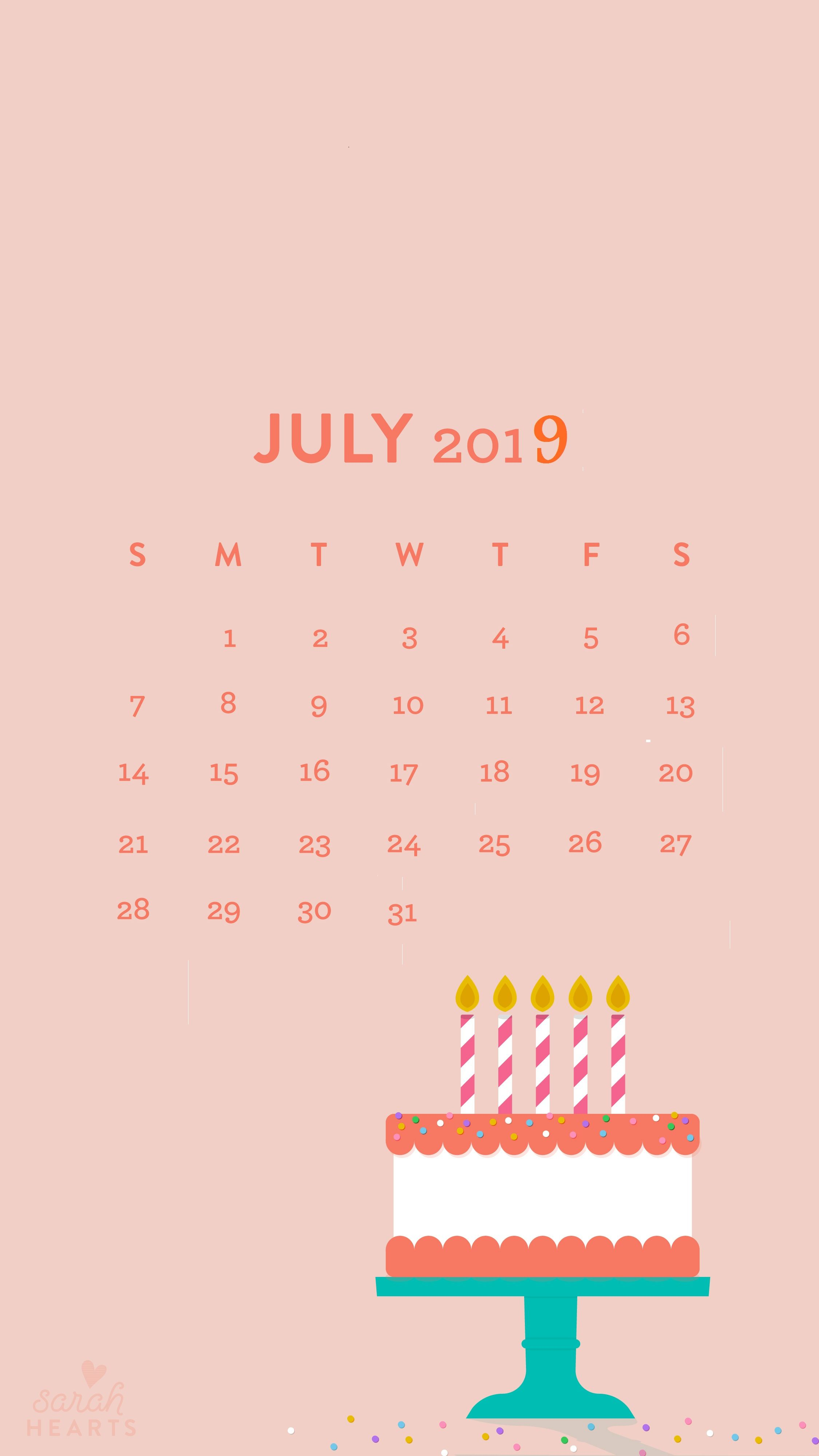 July 2019 Iphone Calendar Wallpaper Calendar Wallpaper Free