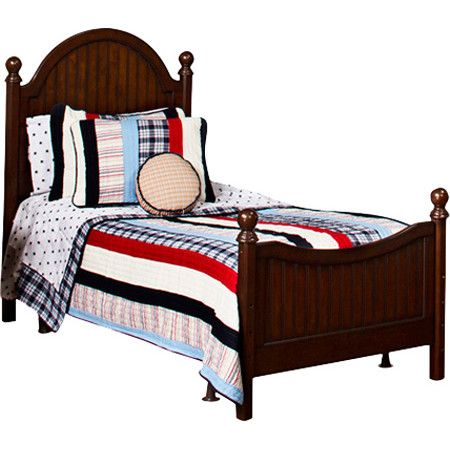 Featuring paneled details, curved design, and an espresso finish, this wood bed adds a handsome touch to your child's room.  Product...