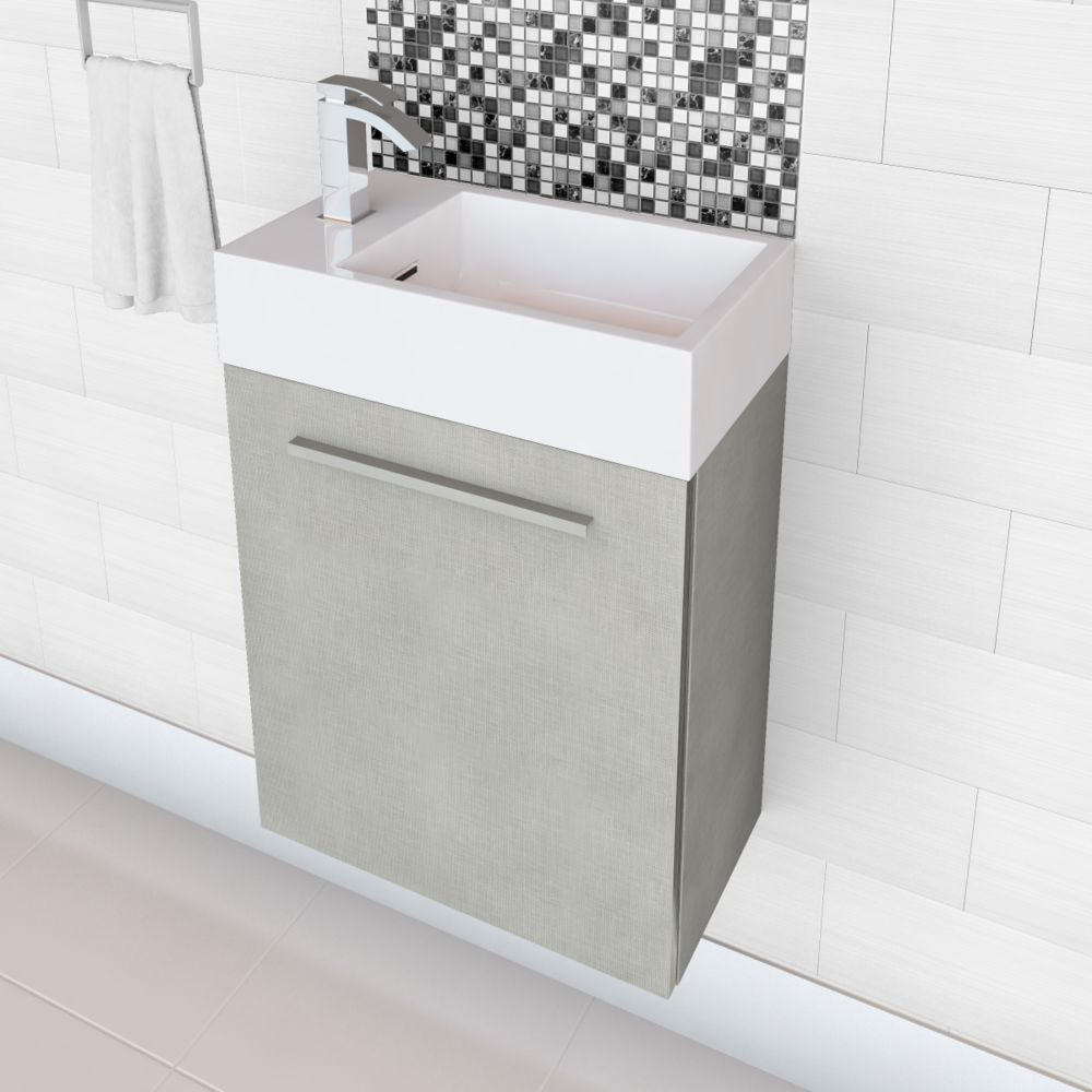 Boutique Collection High Gloss Space Saving Vanity- Linen (Faucet not included)