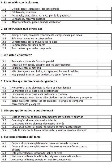 Evaluación Del Docente Cuestionario De Autoevaluación Autoevaluacion Evaluacion Docente Cuestionarios