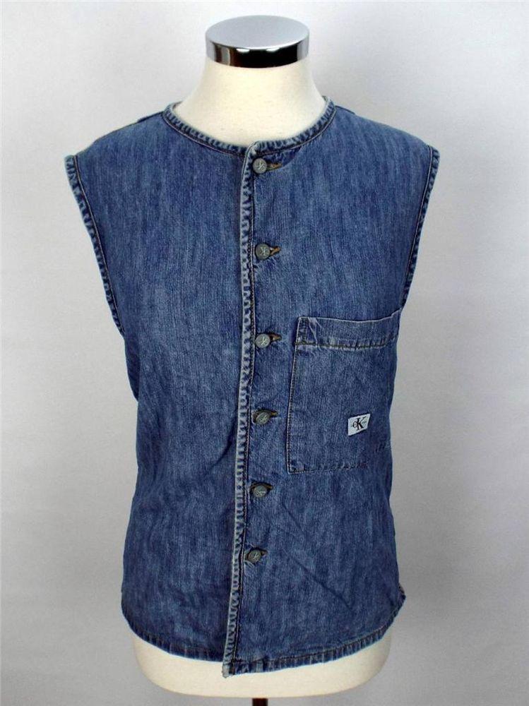 Calvin Klein Womens Denim Vest Jacket Medium Blue Beige Cotton #CalvinKlein #DenimJackets
