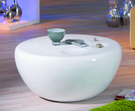 Universe Oval White Gloss Coffee Table 28995 Modern table pieces