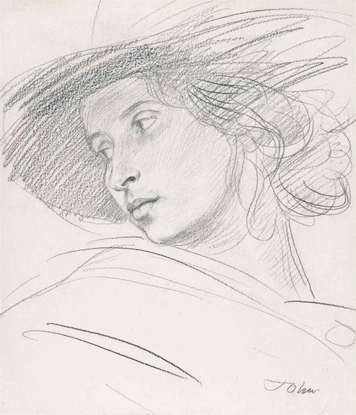 Augustus john 1878 1961 dorelia in a hat c 1907 pencil drawing pinterest pencil portrait drawing portraits and portraits