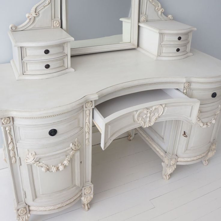 Bonaparte Painted French Dressing Table With Mirror   French Bedrooms