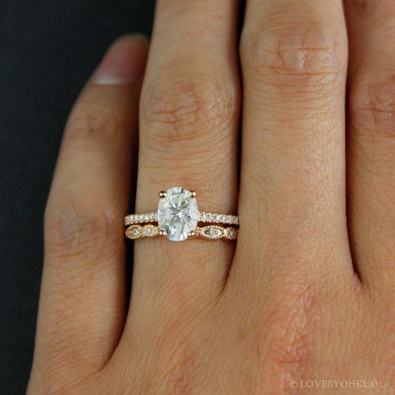 Forever One D-E-F Colorless Oval Solitaire Engagement Ring Set ...