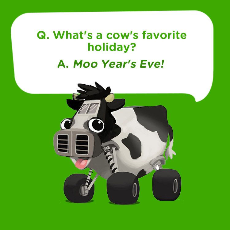 Silly Kids Joke For New Year S Eve What S A Cow S Favorite Holiday Moo Year S Eve Silly Kids Jokes For Kids New Year S Eve Jokes