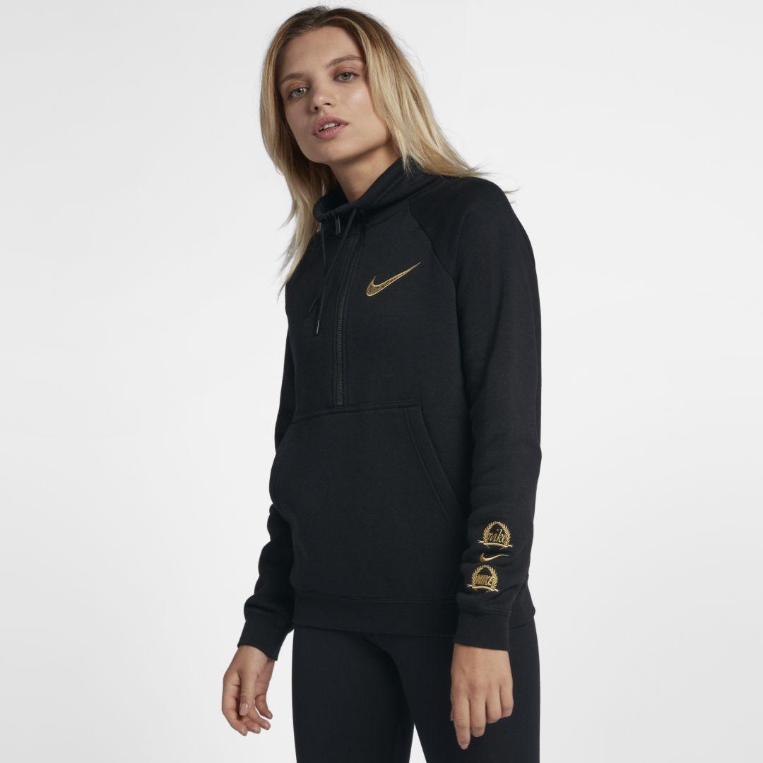 2e5a7391e44b7a Nike Sportswear Rally Women s 1 2-Zip Top Size L (Black)