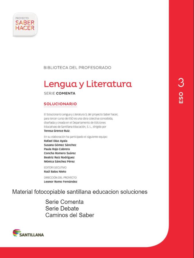 Solucionario Lengua Castellana Y Literatura 3 Eso Santillana Lengua Lengua Castellana Lengua Y Literatura
