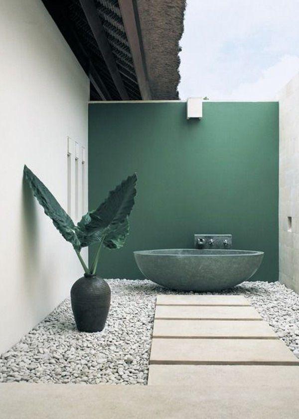 Salle de bains de jardin pour l\u0027été  nos plus belles inspirations - Peindre Une Terrasse En Beton