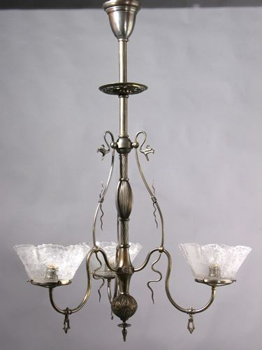 This Is A Beautiful Example Of An 1885 Aesthetic Movement 3 Light Gas Chandelier By Thackera And Sons A Lot Of Serpenti Antique Lighting Chandelier Gas Lights