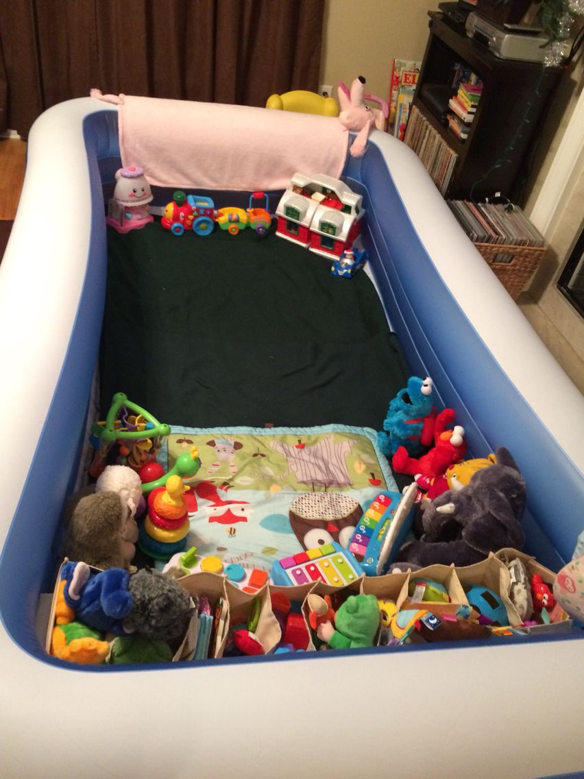 I use a pool for a playpen but, the toys were taking over all the ...