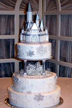 Three Tier Silver And Winter White Snowflake Princess Castle Cake From Manassas Cakery Wedding