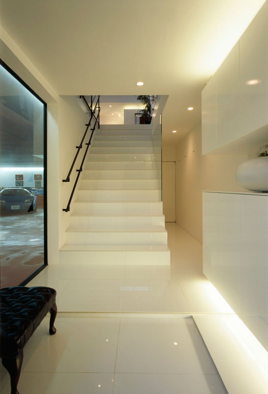 decorationastounding staircase lighting design ideas. Astonishing Hallway Design In Kre Rsidence Decor With Black Leather Bench Placed Nearby The Window Before Decorationastounding Staircase Lighting Ideas R