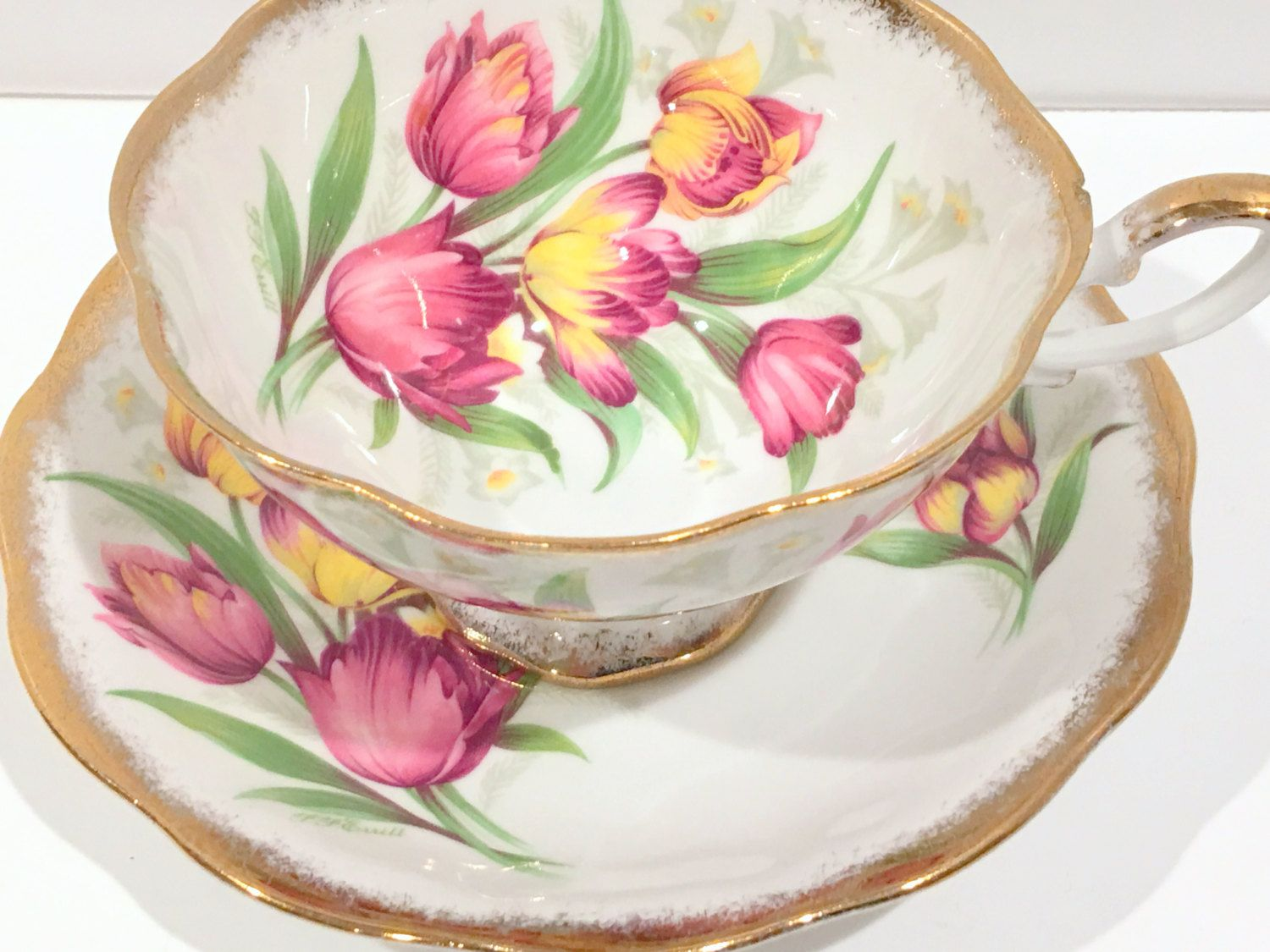 Royal Standard Tea Cup and Saucer, Tulip Cups, Fantasy Pattern, Tea Cups Vintage, Hand Painted Cups, Antique Tea Cups, Antique Teacups by AprilsLuxuries on Etsy