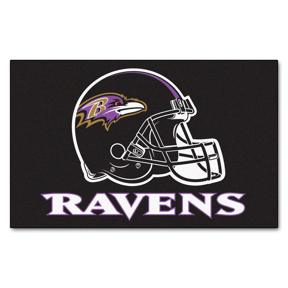 Baltimore Ravens Black Tufted Area Rug