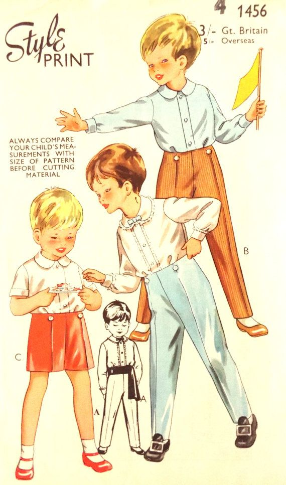 Vintage 1960s Boys Traditional Sewing Pattern Sz 4