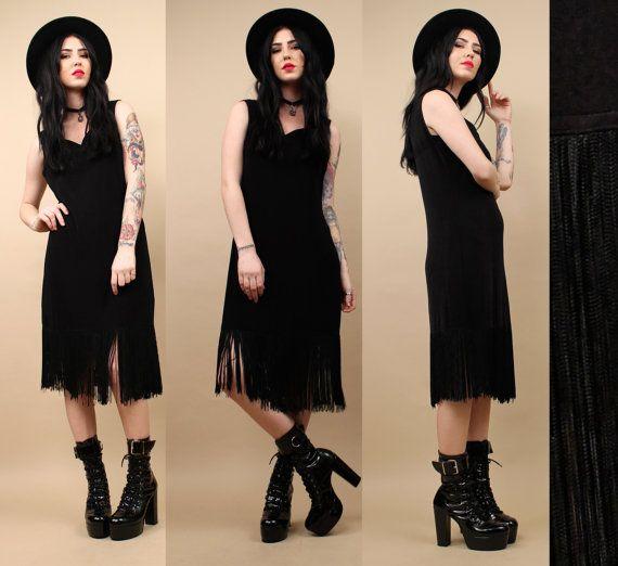 80s 90s Vtg Black FRINGE Slinky Midi Dress / Vamp by nanometer