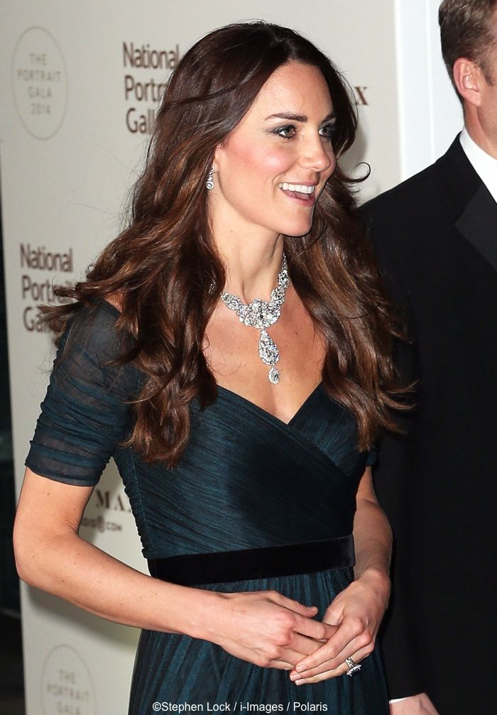 Kate Glitters in Queen's Diamond Necklace & Jenny Packham for National Portrait Gallery Gala, Contest Winner » What Kate Wore