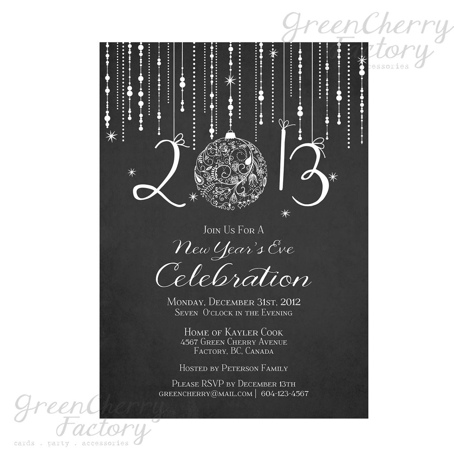 Printable Chalkboard New Year Invitation Elegant New
