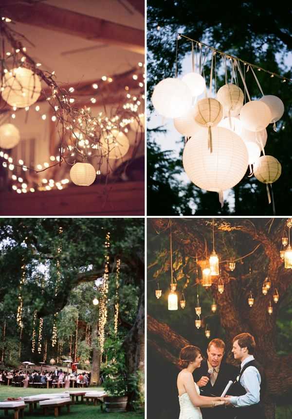 Hanging String Lights Without Trees : lights / outdoor i LOVE the light strings hanging from the trees - the effect is like a magical ...