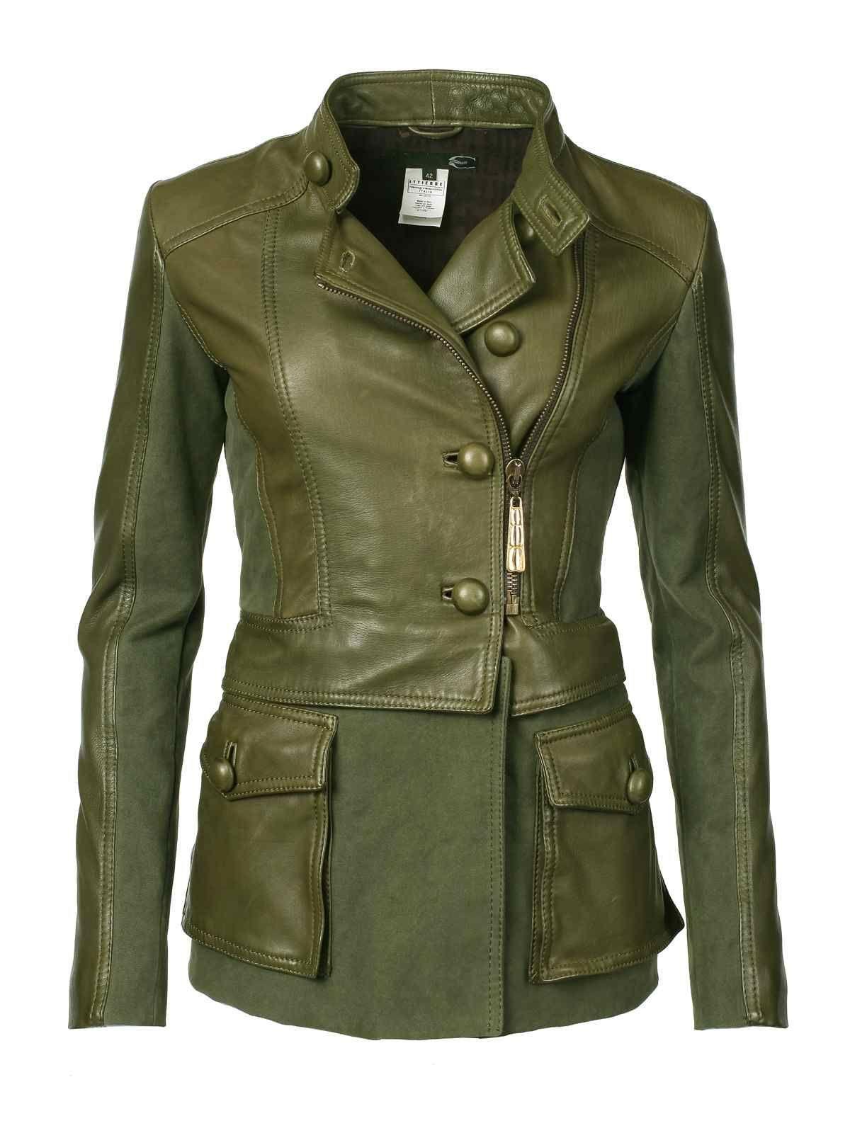 Just Cavalli Jacket olive    $579    Olive Just Cavalli Jacket  Material: Leather , Cotton