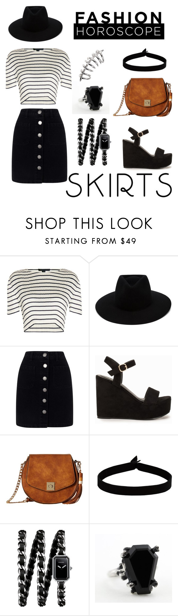 """""""Under $50 Skirt"""" by alwys-aggressica ❤ liked on Polyvore featuring Alexander Wang, rag & bone, Miss Selfridge, Nly Shoes, Gabriella Rocha, The Flexx, Chanel, under50 and skirtunder50"""