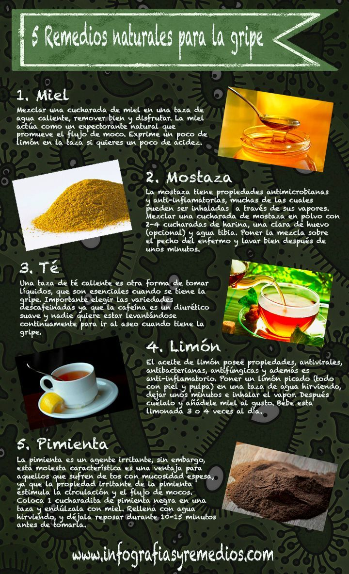 5 Remedios Naturales Para La Gripe Infografía Health Remedies Health And Wellness Health Food