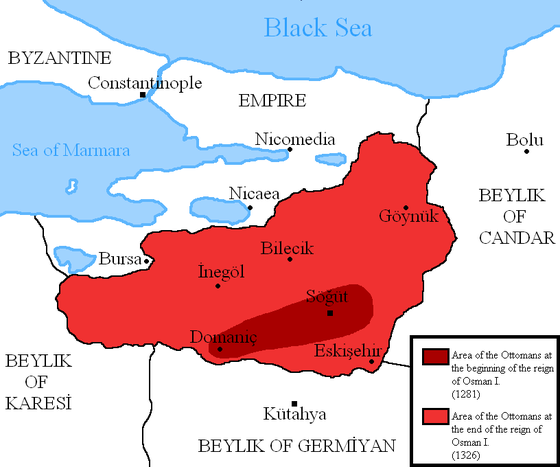 Расширение территории к концу правления Османа (1324) Османское государство:темно-красный цвет-территория в нач.правления Османа (1281); светло-красный-к концу правления Османа (1326).